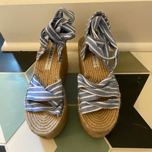 ZARA Blue and White Stripe platform Espadrilles